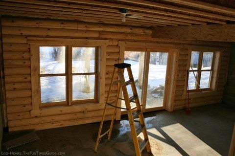 interior-log-home-basement-wall
