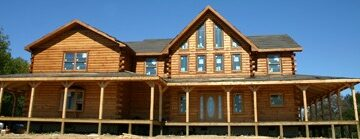 Custom Log Home Under Construction