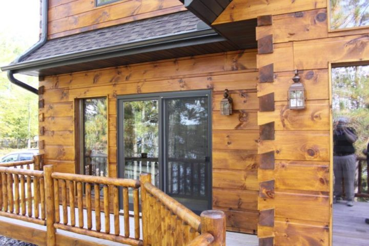 See what your log home would look like with different for How to stain log cabin