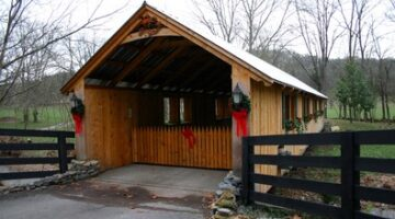 Wooden Covered Bridge For Log Home Owners