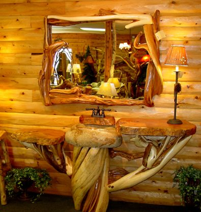 Log Home Pedestal Sink Shaped Like A Log The Log Home Guide