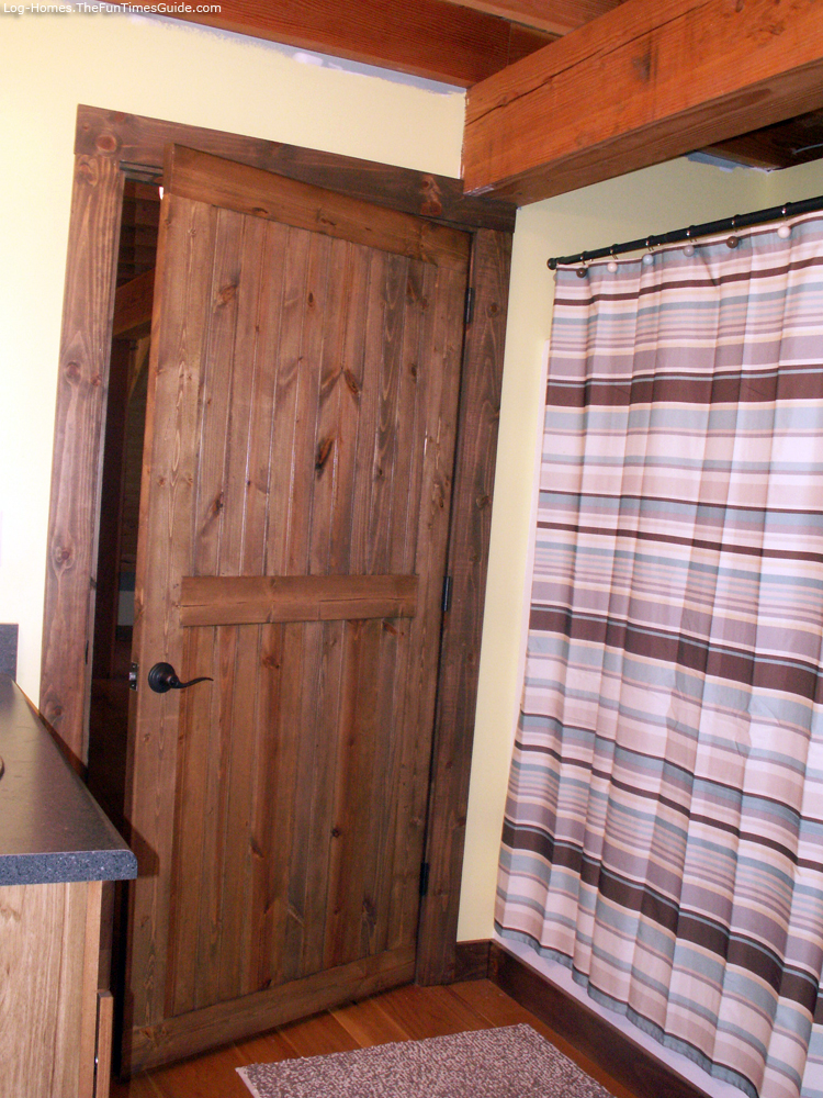 Bathroom Door In Timber Frame Home Log Siding ...