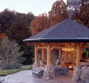 Fire Pit Gazebo Plans http://log-homes.thefuntimesguide.com/2008/02/trees_columns_poles.php