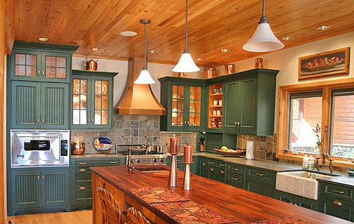 Green Painted Cabinets In Kitchen ...