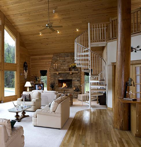 Pictures of rustic columns poles inside log homes for Columns in houses interior