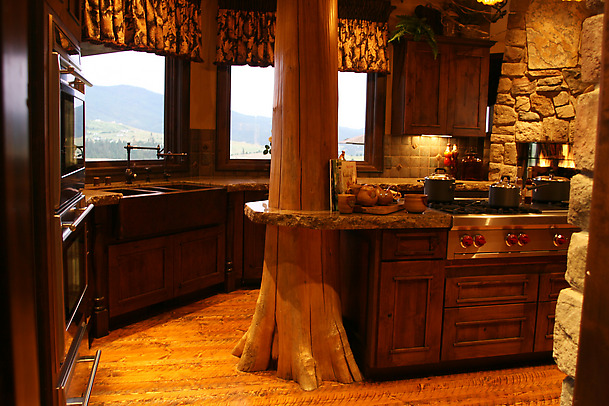 Rustic Kitchen Floorplans Pictures Of Rustic Columns & Poles Inside Log Homes ...Some Are Real