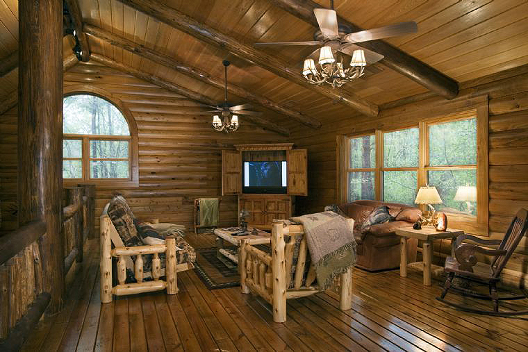 ... Poles Inside Log Homes ...Some Are Real Trees!  The Log Home Guide