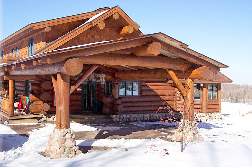 Log Home Breezeway Carport