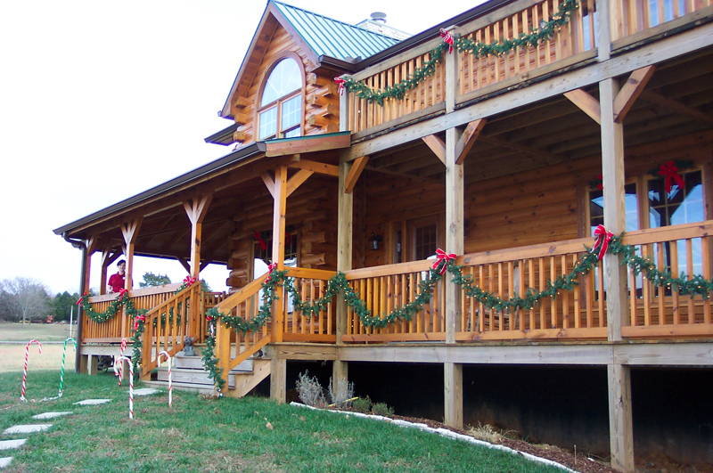 log home decorated for christmas holidaysjpg