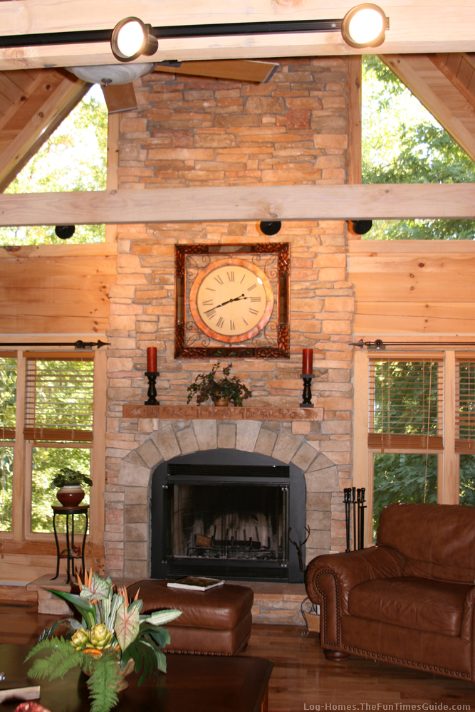 Log Home Fireplace Jpg