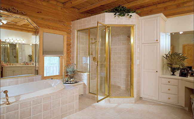 Pictures of Log Home Bathrooms | The Log Home Guide on master bath remodeling, master status, master spas, master bedrooms, master bath sinks,