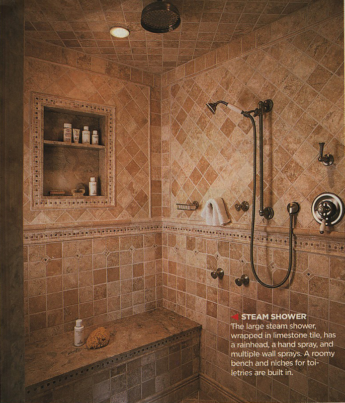 Our master bathroom spa shower plans the log home guide for Master bath tile pictures