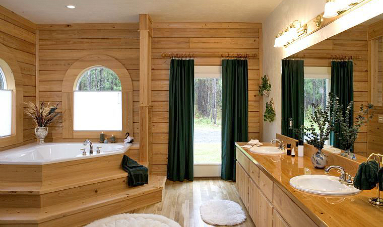 Pin log home bathroom on pinterest for Log home bathroom ideas