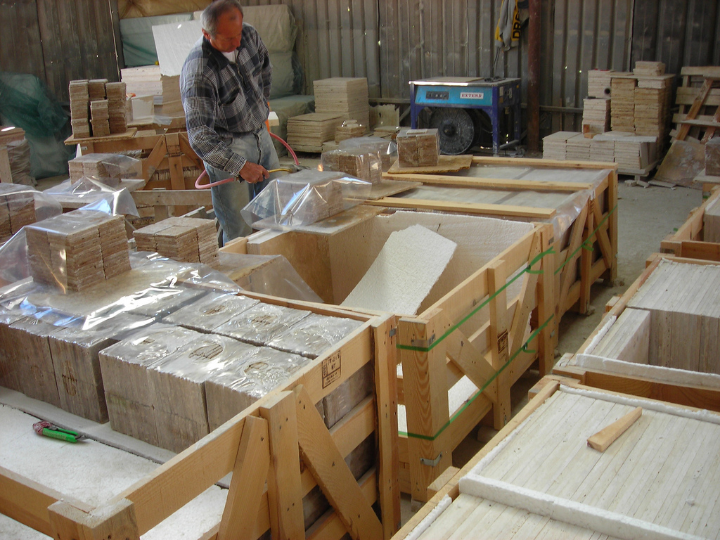 Shrink Wring Travertine Tile At Factory By Marcmac