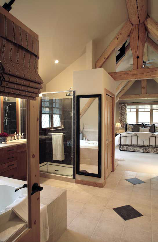 Pictures of log home bathrooms the log home guide Open master bathroom designs