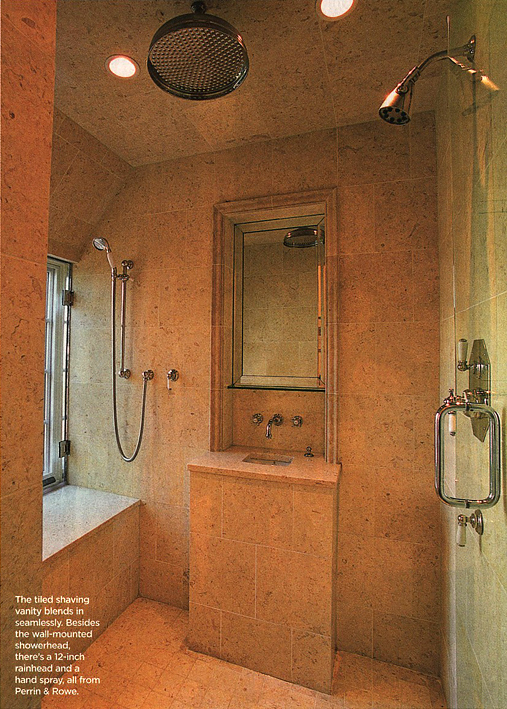 Our master bathroom spa shower plans the log home guide for House plans with walk through shower